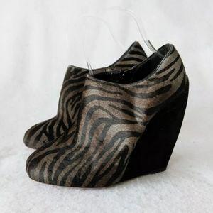 Alaia Paris Zebra Pony Hair Wedge Ankle Booties